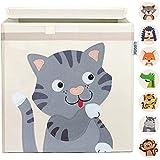 GLÜCKSWOLKE Kinder Aufbewahrungsbox - 15 Motive I Spielzeugkiste mit Deckel für Kinderzimmer I Spielzeug Box (33x33x33) Kiste zur Aufbewahrung im Kallax Regal I Bauernhof-Tiere Katze (Molly Mietze)