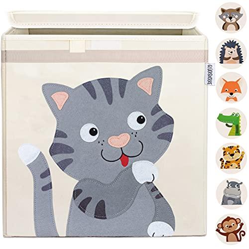 GLÜCKSWOLKE Kinder Aufbewahrungsbox - 15 Motive I Spielzeugkiste mit Deckel für Kinderzimmer I Spielzeug Box (33x33x33) Kiste zur Aufbewahrung im Kallax Regal I Bauernhof-Tiere Katze