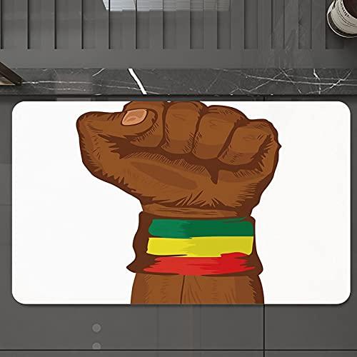 Alfombrilla de Baño Antideslizantes de 50X80 cm,Rasta, símbolo de la rebelión etíope muñeca , Tapete para el Piso Lavable a Máquina con Microfibras Suaves Absorbentes de Agua para Bañera, Ducha y Baño