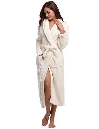 Aibrou Bademantel Damen Winter Morgenmantel super weiches flauschiges coral fleece warmer Schlafanzug Nachtwasche aus Flanell Saunamantel Frottee Kleidung, Weiß, L - EU(44-46)