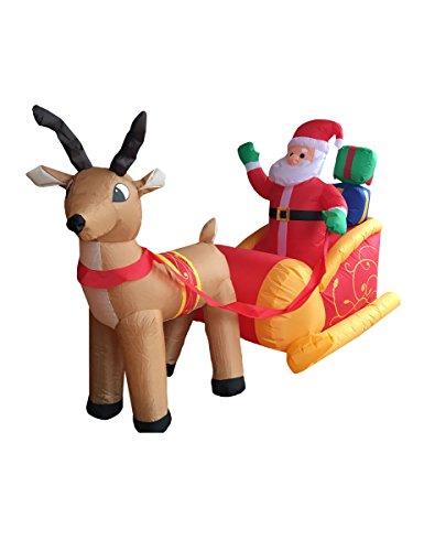 Generique - Decoración Papá Noel Sobre su Trineo Inflable y Luminoso 180 cm Navidad