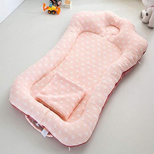 ZIXIANG Lits-Cages Baby Lounger, Nouveau Née Portable Super Doux Et Respirant Berceau Bébé Nest Lavable en Machine Co-dormeur Lits bébé Berceaux (Color : Pink)