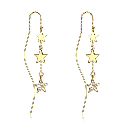 MOOKO Crystal Earrings Stars Sterling Silver S925 Earrings For Women Anniversary Birthday Christmas Jewelry For Women