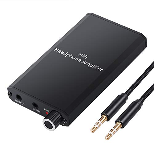 LiNKFOR Portable Headphone Amplifier with Lithium Battery Two-Stage Gain Switch portable headphone amp 3.5mm Audio Rechargeble Hifi Earphone phones audio Amplifier for MP3 MP4 Phone ipad and Computer