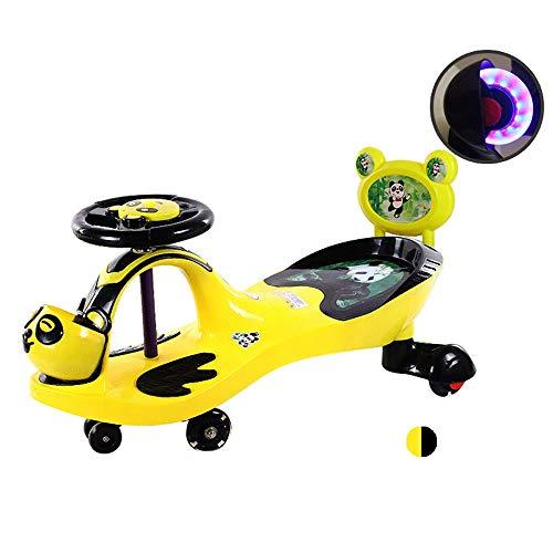 Xolye Scooter 2-8 Ans Enfants Yo Voiture Jouet Twist for Les Enfants for Les Enfants de Voiture garçon et Fille équitation Jouet Voiture avec Musique légère Roue Mute Car Seat (Color : Yellow Black)