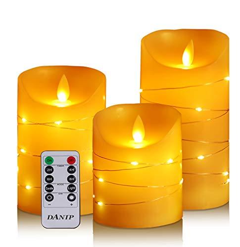 LED flammenlose Kerze mit eingebetteter Lichterkette, 3-teilige LED-Kerze mit Fernbedienung, 24-Stunden-Timer-Funktion, tanzende Flamme, echtes Wachs, batteriebetrieben.