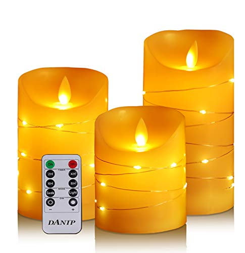 flameless Candle, with Embedded Fairy String Lights, 3-Piece LED Candle, with 10-Key Remote Control, 24-Hour Timer Function, Dancing Flame, Real Wax, Battery-Powered. (Ivory White)