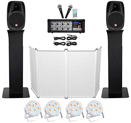 Purchase DJ Package w/ 15 Speakers+Bluetooth Mixer+Mics+Tripod+Totem Stands+Facade+Lights