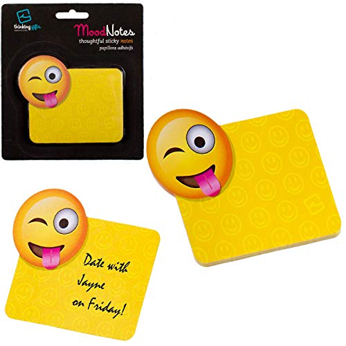 Gifts for Readers & Writers Mood Sticky Notes Fun Novelty Emoji School Office Memo Note Pad Stationery Gift – Yummy Mood Emoji