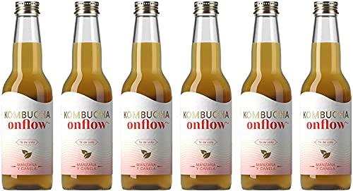 Onflow Té Kombucha en Base a SCOBY, Sabor a Manzana y Canela, Bebida Vegana, Ecológica y Orgánica, Elimina Toxinas, Elaborado en España, Pack de 6 x 33 cl
