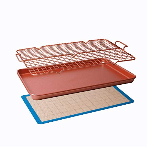 CasaWare 3pc Ultimate Commercial Weight 15 x 10 x 1-inch Cookie Sheet/Cooling Grid/Silicone Mat Bakeware Set (Rose Gold Granite)