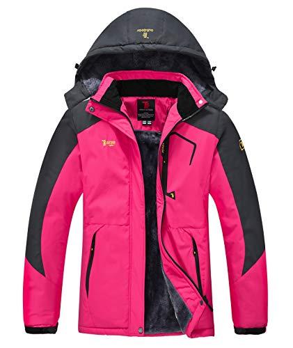 YSENTO Veste de ski imperméable pour femme en polaire avec capuche - Rouge - Large