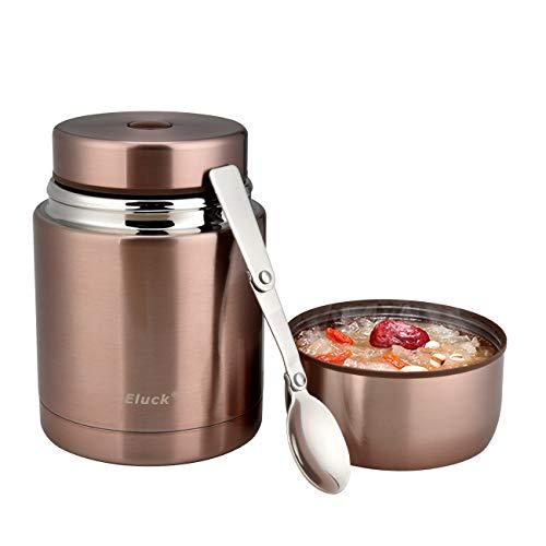 Eluck Thermobehälter für Essen Große Kapazität 800ml Edelstahl Thermo Speisebehälter Isolierbehälter Lunchbox mit Löffel Speisegefäß BPA freier (Roségold)