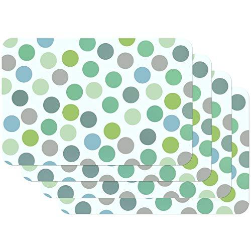 Venilia Tischset Platzset für Esszimmer BUNT GRÜN Vintage Punkte, 4er Set abwischbar Polypropylen, lebensmittelecht, 45 x 30 cm, 4 Stück, 59057, Kunststoff, Confetti Mint, Motive, 4