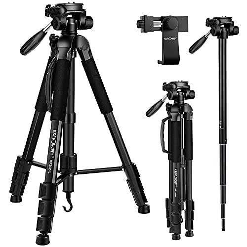"""K&F Concept 70"""" 177cm Trípode Completo Liviano con Soporte para Movil y Monopie, Trípode de Aluminio con Cabezal de 3 Ejes para Smartphone MóvilesCámaras Canon Sony Nikon Olympus"""