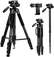 "Portable Tripod,K&F Concept 70""/177cm Travel Tripod Outdoor Compact Aluminum Video Camera Tripod Monopod with 3-Way..."