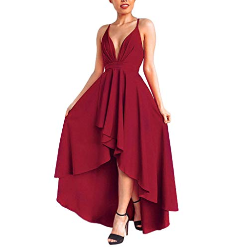 Check Out This WENOVL Casual Dresses for Women,Womens Backless V Neck Party Asymmetry Dress Cocktail...