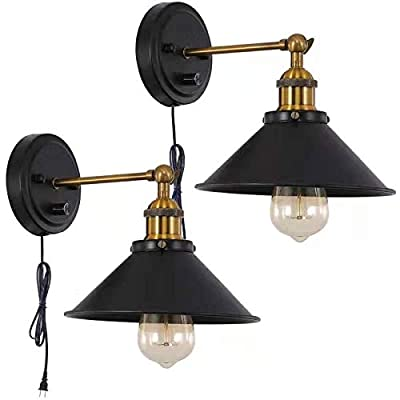 Larkar Dimmable Wall Lamp Industrial Plug in Cage Wall Sconces Lamp,Edison Vintage Style Swing Arm Wall Lamp with On/Off Switch Metal Black Wall Mounted Light Fixture for Indoor -Set of 2