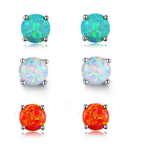 GEMSME 18K White Gold Plated Color Green Red Blue 6mm Opal Stud Earrings for Women (round-6)