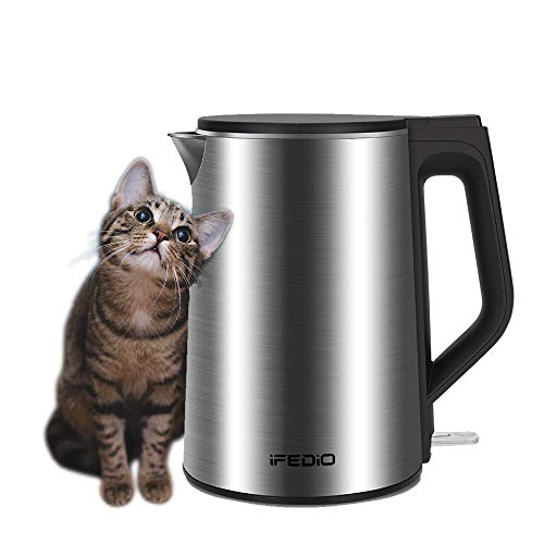 Electric Kettle Stainless Steel, 1.5L Double Wall Stainless Steel Cool Touch Electric Kettle Cordless Water Kettle Auto Shut-off & Anti-Scald Protection, 1500W 120V