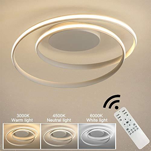 Moderne kreative Spiral-LED-Deckenleuchte Dimmbare Esszimmerlampe im Ringdesign Rundes Wohnzimmerlicht Gebogener Metallacryleisenleuchter Mattweiß L46cm H12cm 50W 4500LM