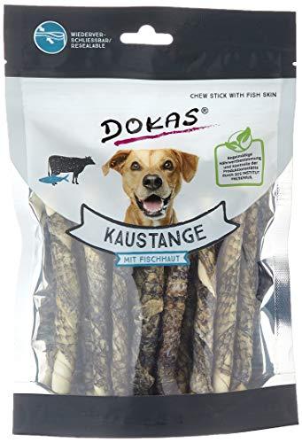 DOKAS Kaustange mit Fischhaut – Getreidefreier Premium Kausnack für Hunde aus Fisch- und Rinderhaut – 1 x 200 g