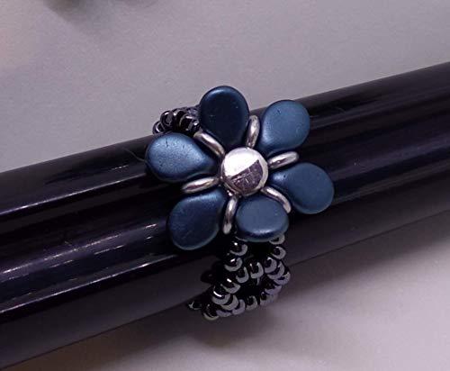 Pulsera, Pendientes y anillo en forma de flor (hechos a medida y color