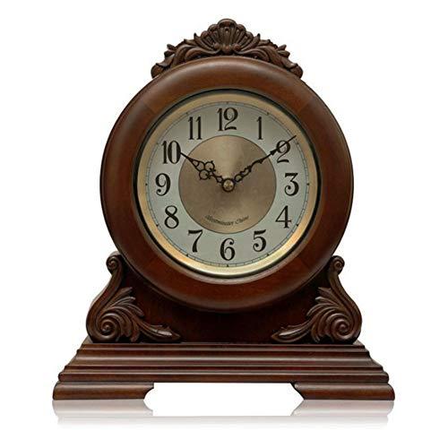 WZCXYX Kaminuhr,Arabische Ziffern des antiken Designs,Dekorative Uhr der Holzdämpferbatterie im europäischen Stil, batteriebetrieben