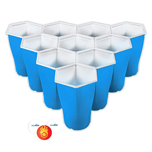 HEXCUP - Reusable Party Pong Cup Set by PartyPong - 22 Reusable Cups, 3 Balls, & Plastic Game Card