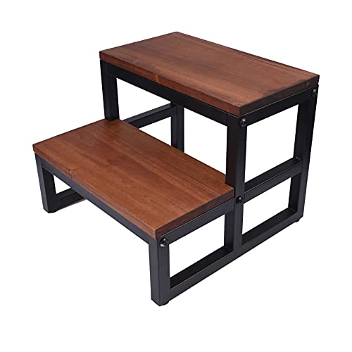LAKINGO Two Step Wood Stool with Metal Frame for Adult & Kid Load 400lb, Double Wooden Stepping Footstool for High Bed Side, Bathroom, Bedside, Toilet, Dual Foot Stair for Elderly (Need Assemble)