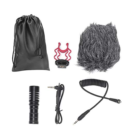 Interviewmicrofoon met draagbare tas, 3,5 mm condensator mini-unidirectionele microfoon met knop voor spiegelreflexcamera's, camcorders, spiegelreflexcameramicrofoon