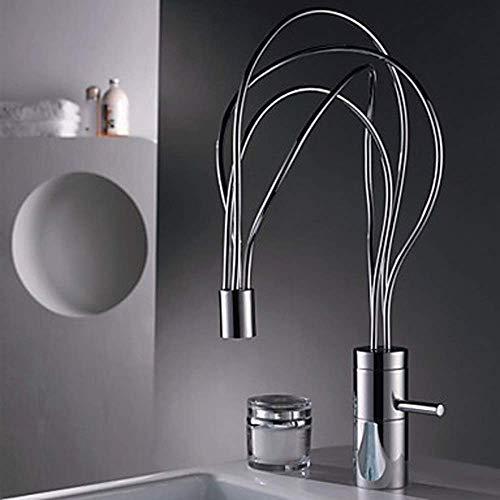 W-SHTAO L-WSWS Cocina Creativa Personalidad Styling se Puede Girar Grifo de Cobre Agua Caliente y fría Acondicionado Home Hotel Baño Orificio de Mezclador Hermosa práctica Grifos