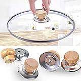 [4 pezzi] Manico coperchio pentola resistente al calore | Manico in legno massello per evitare...