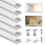Perfil de aluminio LED DazSpirit, perfil de aluminio en forma de U LED de 6 piezas x 1m con cubierta lechosa blanca, tapas de extremo y soporte de montaje para tiras de LED