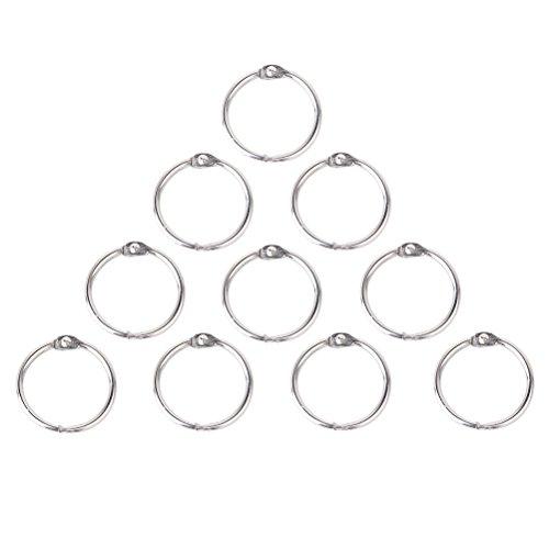 SuPVOX 10 peças 65 mm Anéis de álbum folgado folha pasta scrapbook foto chaveiro argolas (prata)