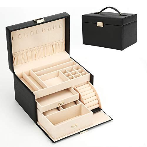 Organizador de joyas y caja de almacenamiento bandeja titular reloj caja organizador enorme caja de joyería cajón reloj caja gafas de sol organizador exhibición organizador/negro