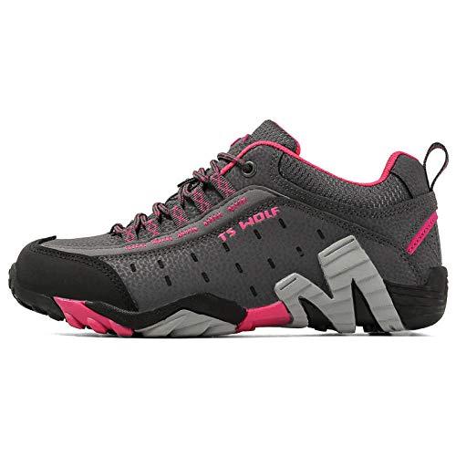 Gym Shoes Lightweight Shoes,Botas de montaña Deportivas,Zapatos para Caminar al Aire Libre de Gran tamaño.Transpirables.cómodos y Que absorben los Golpes-Rose Red_45#