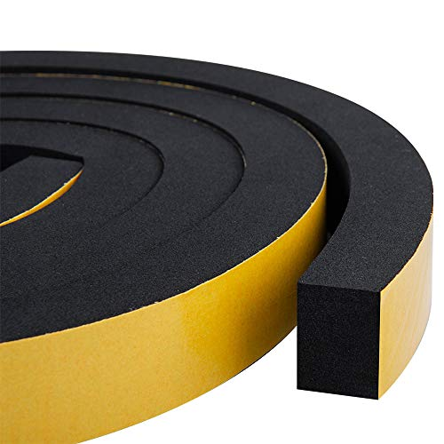Foam Weather Stripping-2 Rolls, 1 Inch Wide X 3/4 Inch Thick, Insulation Foam Strips with Adhesive for Door,Automotive,Air Conditioner Seal, Total 13 Feet Long (6.5ft x 2 Rolls)