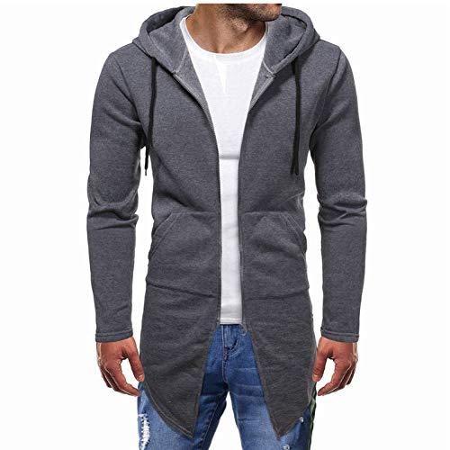 VANVENE Sudadera con capucha para hombre, de invierno, larga, cálida, con cremallera, para hombre, estilo casual, para invierno, cálida