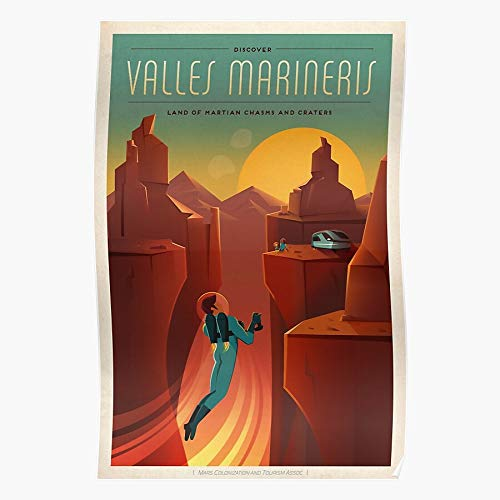 Geology Red Mars Vintage Astronomy Travel Planet Marineris Ares Valles Home Decor Wall Art Print Poster !