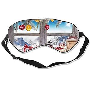 Maschera per gli occhi di Natale con pupazzo di neve per dormire, morbida e soffice, per donne e uomini al 99% di copertura per gli occhi bendati per viaggi turno lavoro pisolini