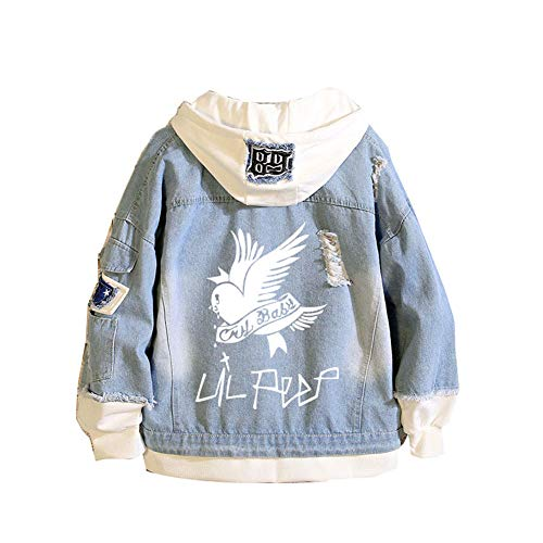 ATHIHOOD Unisexe Lil Peep Veste en Jean Couple Cosplay Denim Manteaux à Capuche Casual Hoodie Outwear Sweats (Bleu-6,M)