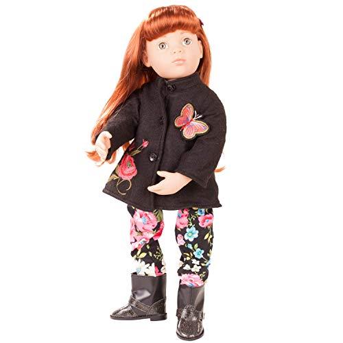 Götz 1866253 Happy Kidz Clara Puppe - 50 cm große Multigelenk-Stehpuppe mit roten Haaren und grauen Augen - 7-teiliges Set