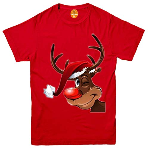 Invading Cheeky Smile Rudolph Red Nose Reindeer Kids Boys/Girls T-Shirt