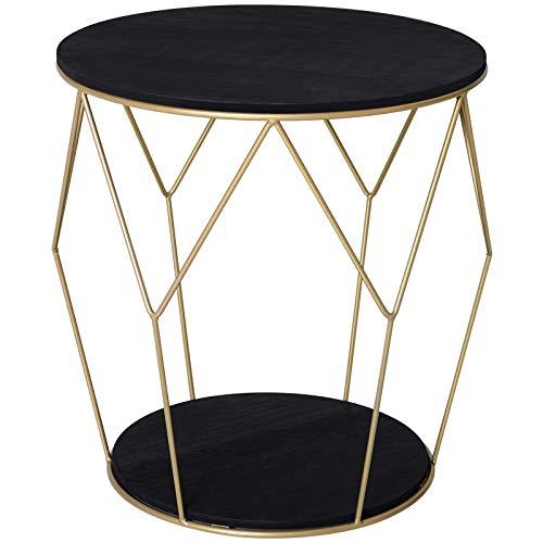 HOMCOM Table Basse Ronde Design Style Art déco Ø 45 x 48H cm MDF Noir métal doré