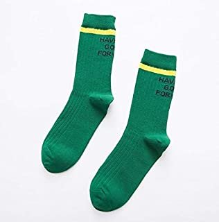 Socks Autumn Casual Fashion Cotton Striped Letter Socks, Size:One Size(Black) 2020 (Color : Green, Size : One Size)