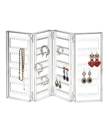 Acrylic earring holder and jewelry organizer - Earring organizer holds up 140 pairs of earrings