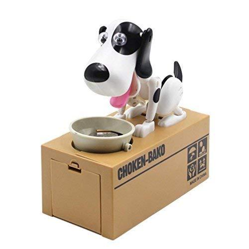 Julymall Spardose Robotic in Form eines Hundes, der Münzen fresst, Geschenkidee für Kinder zum Geburtstag und Weihnachten braun-schwarz ATM Spardose, schwarz-weiß