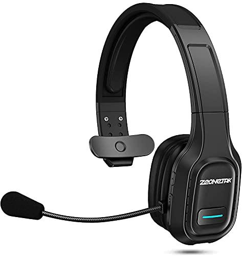 Esolom - Cuffie Bluetooth con microfono girevole, senza fili, Bluetooth 5.0, con microfono a cancellazione del rumore, 420 mAh, per Call center, camion, guida, Skype ufficio zoom