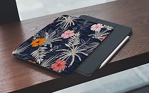 MEMETARO Funda para iPad (9,7 Pulgadas 2018/2017 Modelo), Mezcla de Hibisco Floral con Estilo Colorido con Hojas Moda Verano Hawai Smart Leather Stand Cover with Auto Wake/Sleep